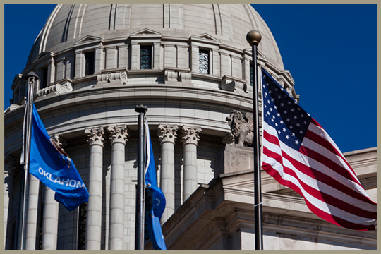 Oklahoma Capitol with Flags